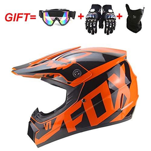 Helm Safe Full Face Classic Fahrrad MTB Dh Racing Helm Motocross Downhill Fahrradhelm Capacetes Motocross, für Erwachsene Jugend Junior Kinder Kinder,Orange,S(55~56CM)