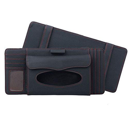 Kapazität Cd-ablage (3 in 1 Tissue Box Feines Mikrofaser-Leder Sonnenblenden-organizer, Auto Sonnenblende Tasche Auto CD Organizer, Tissue Box, Stifthalter, Kartenhalter, von DUBENS® (Schwarz))