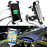 #4: Ceuta Retails Waterproof Universal Motorcycle Car 360 Degree Rotating Bike Mobile Holder with USB Charger for All Android Devices Upto 7 Inches (Black)