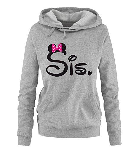 Comedy Shirts - SIS. - Minnie - Damen Hoodie - Grau/Schwarz-Pink Gr. L (Pink Love Damen Hoodie-l)