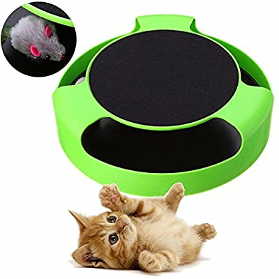 Invero® Cat Kitten Catch The Mouse Moving Plush Toy Interactive Scratching Claw Care Play Mat