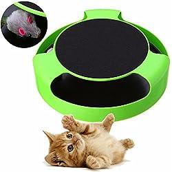 Invero® - Juguete de atrapar el ratón de peluche en movimiento para gatos juguete, alfombra rascador interactiva