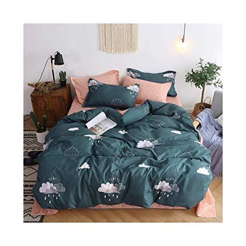 Wolke Regentropfen Muster Mädchen Bettbezüge Queen Green Premium Baumwolle Frühlingsblüte bunte reversible Kinder Schlafzimmer Tröster decken volle Bettwäsche-Sets Reißverschluss for Teen Kleinkind,