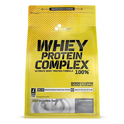 Optimale 100% Whey Protein (Olimp Whey Protein Complex 100% | Powder Eiweiß-Pulver | BCAA-Aminosäuren | mit Süßstoffen, aspartamfrei | Cocktails Smoothies | Vanille Geschmack | 20 Portionen | 700 g Verpackung)