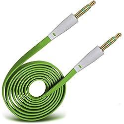 i-Tronixs (Vert) Yezz Andy 5EI3 Etui Housse Coque Portefeuille (Dimensions 145.5 x 75.3 x 9 mm) Jack 3,5 mm stéréo pour Jack Câble Plat AUX Câble Audio auxiliaire Couleur Or Plomb par de