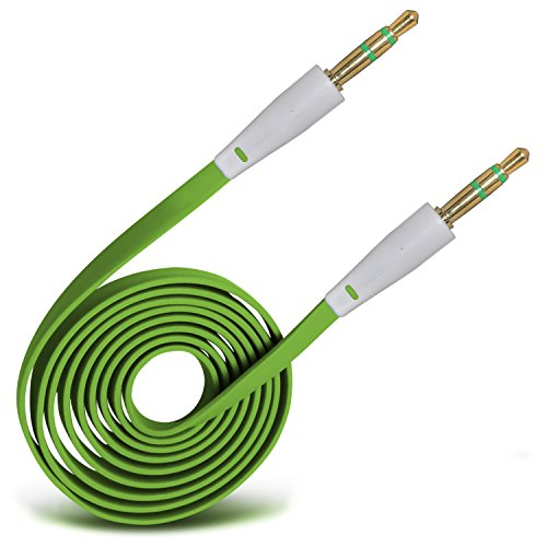 Onx3 (Green) High Quality 3.5mm Stecker auf Stecker Jack Flachkabel AUX Auxiliary Audio Kabel-Blei für Blackberry Curve 8330 8330 Gel