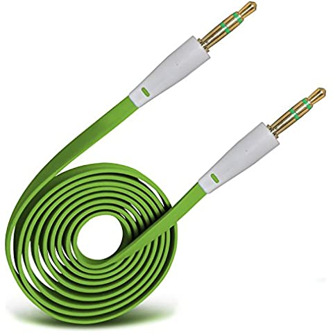 (Verde) Huawei Ascend Y530 3.5mm Jack a Jack Flat Cable AUX Cavo audio ausiliario piombo By Spyrox