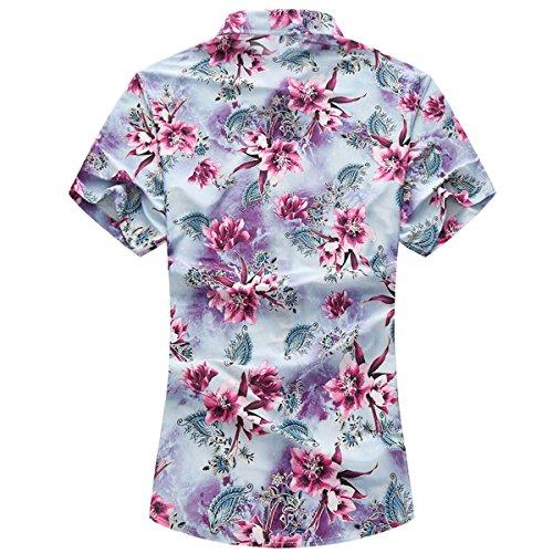 1193df763c47 YOUTHUP Herren Sommerhemd Hawaiihemd Kurzarm Hemd Blatthemd Freizeit Hemd  Besonders für Reise Urlaub Rot ...