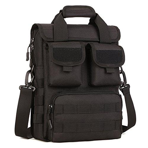 Huntvp Taktisch Crossbody Tasche Wasserdichte Laptop Handtaschen Molle Military Schulter Taschen für Outdoor Sport Wandern Trekking - 26 x 34 x 8-12cm Schwarz