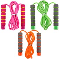 Blulu 3 Pieces Kid Jump Rope Skipping Rope Adjustable Lightweight Jump Rope with Foam Handle for Exercise, Home and Outdoors Workouts Supplies