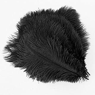 SODIAL(R) 20 x plume d'autruche naturel 25-30cm noir fetes decoration