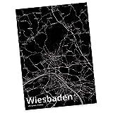 Mr. & Mrs. Panda Postkarte Stadt Wiesbaden Stadt Black - Stadt Dorf Karte Landkarte Map Stadtplan Postkarte, Postkarten, Einladungskarte, Geschenkkarte, Brief, Spruch des Tages, Kärtchen, Geschenk, Karte, Papier, Einladung, Fan, Fanartikel, Souvenir, Andenken, Fanclub, Stadt, Mitbringsel