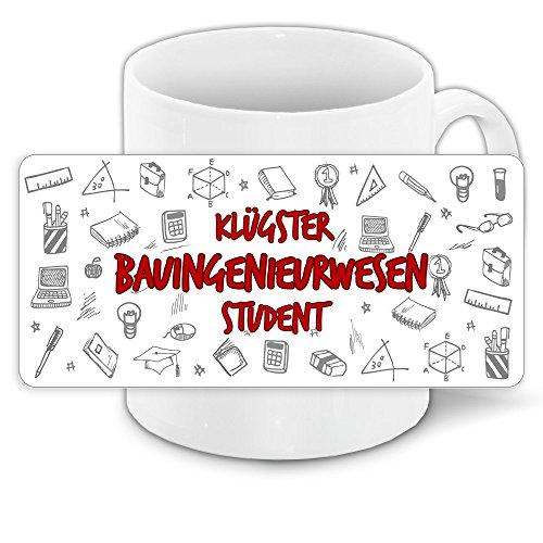 Tasse für-Studenten mit Motiv - Klügster Bauingenieurwesen-Student - | Studenten-Geschenk | Studenten-Tasse