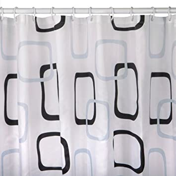 White Fabric Shower Curtain With Rings 180 x 200 cm Extra Long ...