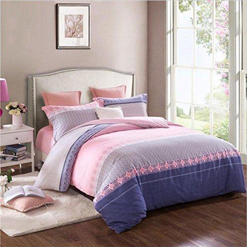 CanKun Neue Baumwolle Bettbezug Kissenbezug und Bettlaken Set Bettwäsche Vier Sets , 026 , König (Bettwäsche-sets König In Lila)