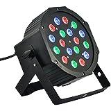 Foco estroboscópico LED (RGB, 18LED Color de 18W, efecto Discothèque con sensor acústico Mic, control DMX Futur print®