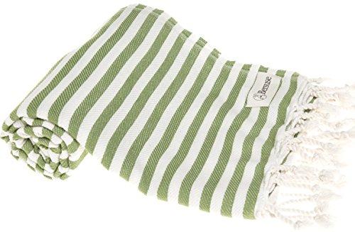Bersuse 100% cotone - asciugamano turco malibu - certificato oeko-tex - peshtemal fouta per bagno e spiaggia - pestemal assorbente, ultra-morbido, asciugatura rapida - 95x175 cm, verde oliva
