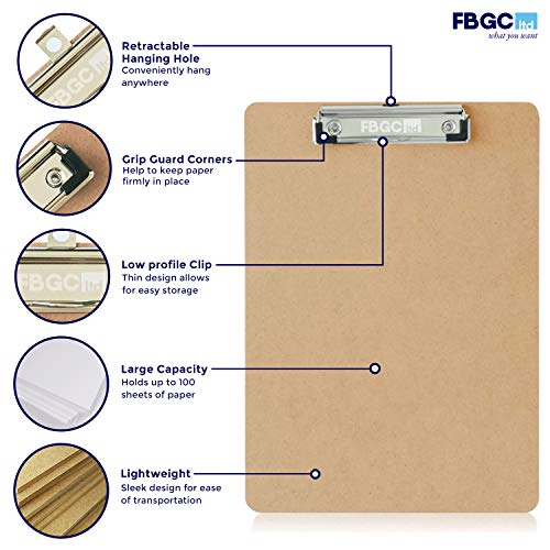 6 x Professional Quality A4 Duraboard Clipboards with Sturdy Spring-Loaded Grip & Hanging Hook - Durable Wooden Clip Boards Perfect for Office Work - Eco-Friendly with a Glazed Finish