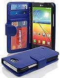 Cadorabo Hülle für LG L90 Hülle in Neptun blau Handyhülle mit 3 Kartenfächern Case Cover Schutzhülle Etui Tasche Book Klapp Style Neptun-Blau