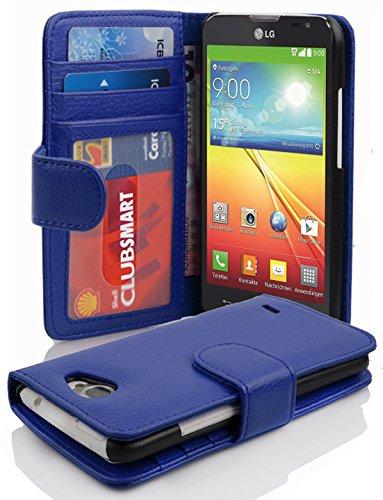 Cadorabo Hülle für LG L90 - Hülle in NEPTUN BLAU – Handyhülle mit 3 Kartenfächern - Case Cover Schutzhülle Etui Tasche Book Klapp Style