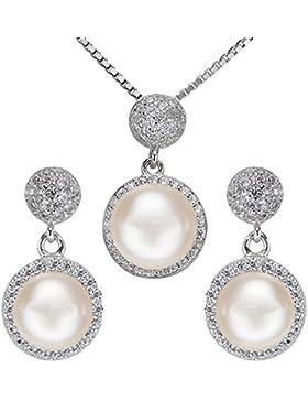 EVER FAITH® Damen 925 Sterling Silber CZ Süßwasser kultivierte Perle Classial Round Halskette Ohrringe Set