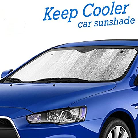 Insulated & Anti-Heat Car Front Windscreen Sunshade - 2017 Version - Easy to Install with Ultra-Strong Suction Cups - Reflects UV Rays and Protects your Car and Car Seats from the Sun and