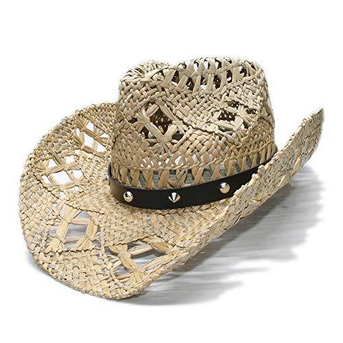 n Unisex Vintage Breiter Krempe Stroh Sun Beach Cowboy Cowgirl Western Hut Rivet Lederband (58Cm) ()