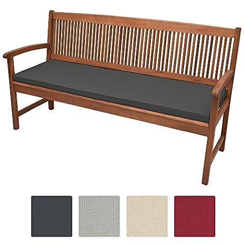 Beautissu Coussin pour banc de jardin, terrasse, balcon Base BK - balancelle - Banquette - Assise confortable - 180x48x5cm Graphite clair