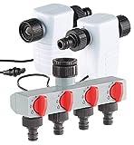 Royal Gardineer Automatische Wasseruhr: Elektronisch gesteuertes Magnet-Ventil im 2er-Set mit 4-Wege-Verteiler (Gartenschlauch Magnetventil)