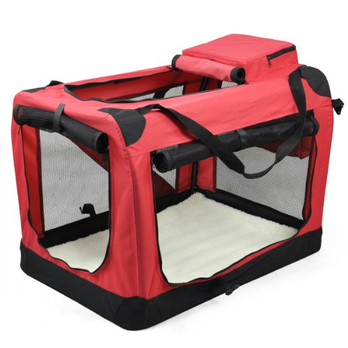 Veroda Haustier Welpen Stoff Tragbare Floding Träger Faltbare Kennel Crate Bag Cage Travel Farbe Rot