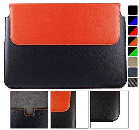 Emartbuy Toshiba Chromebook 2 CB30-B-104 13.3 Pouce Noir / Orange PU Cuir Magnétique Etui Coque Case Portefeuille Wallet Sleeve ( 13.3 to 14 Pouce )