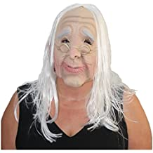 Maske alte Frau mit Brille Oma Greisin Vollmaske Faschingsmaske Karnevalsmaske