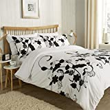 Floral Trail Duvet Quilt Cover Set, Floral Single Double King Size Bed Linen Bedding By Olivia Rocco®, Black/White, Super King