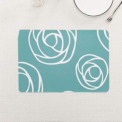 Tischmatte Hitzeisoliermatte Western Food Mat Bügelmatte Schüsselmatte Wasserdicht Ölfest Cup Mat, Happy Rose Lake Blue, 30 * 45cm Blue Rose Cup