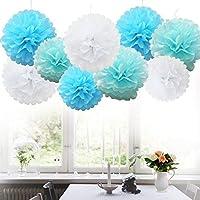Tissue Paper PomPons Blue Pompoms blancos Deco Colorful Floral Wedding Party Decoration para cumpleaños, Baby Shower, fiestas, decoraciones del hogar, fiesta, celebración comunión - 12 piezas (azul, azul cielo y blanco)