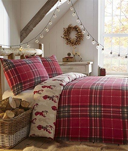 Natale tartan renna cervo teste rosso 100% spazzolato doppio (rosso tinta unita lenzuolo sottoteso - 137 x 191cm + 25) 4 pezzi set da letto