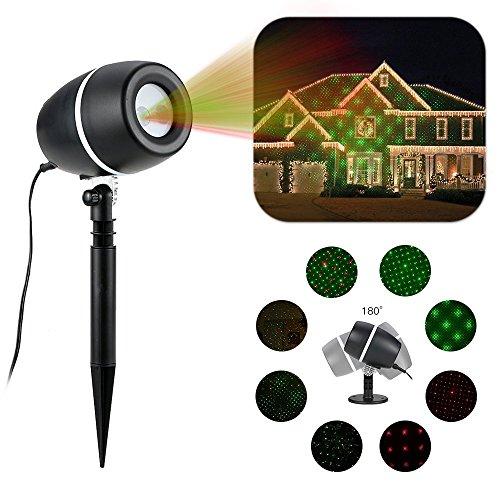 LED Projetée Lamp projecteur de lampe de jardin 2 couleurs / motifs dynamiques et statiques intérieur / extérieur IP65 rouge + vert
