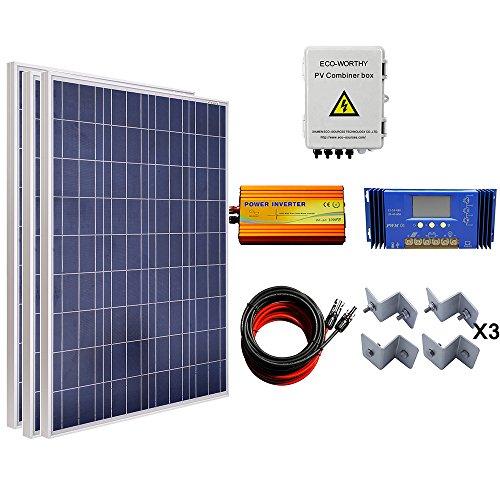 ECOWORTHY 300W Solar Panel Komplett System: 3100W Poly Panel + 4Saiten Solar Combiner Box + 1000W Wechselrichter + 60A Laderegler + 16FT Kabel + Z Montagehalterung (Kit Solarpanel 10w)