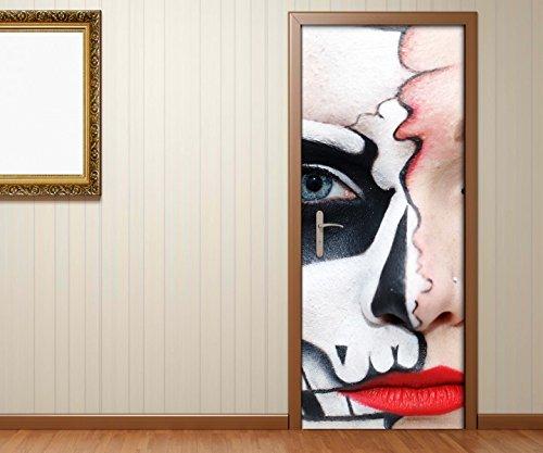 Türaufkleber Monster Gesicht Horror Maske halb Frau Tür Bild Türposter Türfolie Türtapete Poster Aufkleber 15A577, Türgrösse:80cmx200cm (Frau, Das Gesicht Halb-maske)