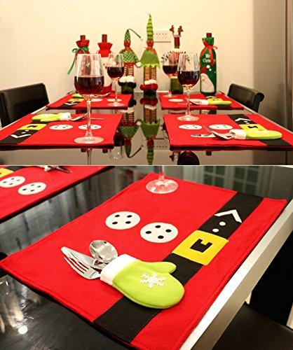 Tischmatte 4er Set Weihnachten Tischsets mit Bestecktasche Platzsets Abwaschbar Platzmatten Platzdeckchen weihnachten Esstisch Matte Weihnachtsmatte Küche Dekoration Zubehör deko (stil1)