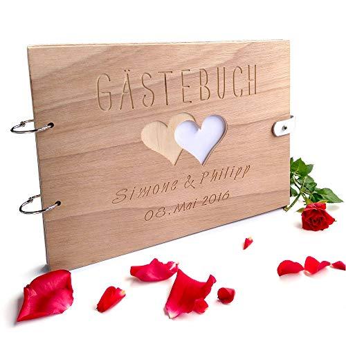 Handgearbeitetes Gästebuch zur Hochzeit aus Holz mit personalisierter Gravur & Lederverschluss - 150 Seiten / 75 Blatt DIN A4 Papier - 310 x 230 mm (Gästebuch Personalisierte Hochzeit)