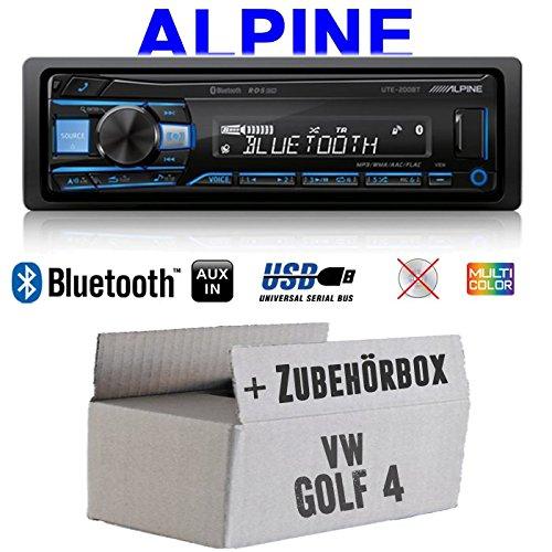 Autoradio Radio Alpine UTE-200BT Bluetooth USB MP3 | 1-DIN PKW KFZ 12V Einbauzubehör - Einbauset für VW Golf 4 IV - JUST SOUND best choice for caraudio