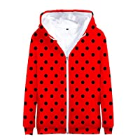 BSHDUFN Miraculous Ladybug Sweatshirt Coat Digital Print Kids 3D Outerwear Girls Boys Popular Loose Hooded Zipper Jacket Miraculous Ladybug Pullover (Color : A09, Size : Height-90cm(Tag 90))