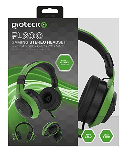 Gioteck FL200 Wired Stereo Headset – Green (PS4/Xbox One/Mac/PC/Playstation Vita) – [Edizione: Vereinigte Königreich] (Mobile Retractable Headset)