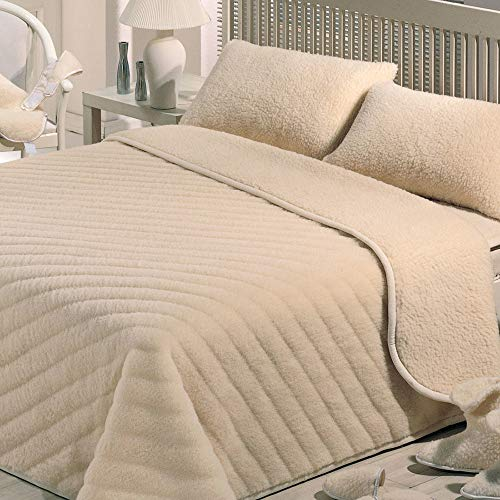 Velotti coperta pura lana merinos matrimoniale 600gr basile beige