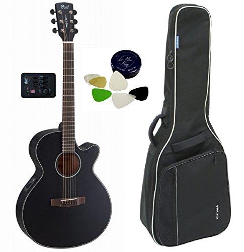 Hochwertiges Westerngitarren-Set für Einsteiger und Fortgeschrittene - CORT SFXEBS SFX Cutaway Elektro-Akustische Gitarre inkl. Tasche und DC-Plec-Box