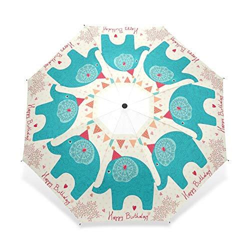 FOOFLH Tan Lindo Elefante Patrón Paraguas Tres Plegables Portátil Lluvia Paraguas para Niños Regalo De Cumpleaños Paraguas