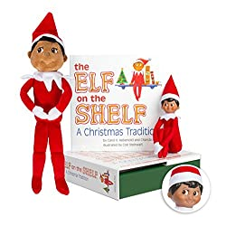 Elf on the Shelf Bundle - The Elf on the Shelf: Christmas Tradition Book with Dark Skin Brown Eyed Boy Scout Elf and Boy Plushee Pal