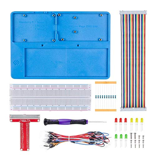 SunFounder Breadboard Kit RAB Holder, 830 Points Solderless Circuit Breadboard, Jumper Wires, LED, Resistors for Arduino Uno R3, Mega 2560 & Raspberry Pi 3 Model B, 2 Model B and 1 Model B+