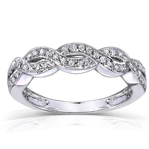 Diamant tressé bande 1/8carats (ctw) en or blanc